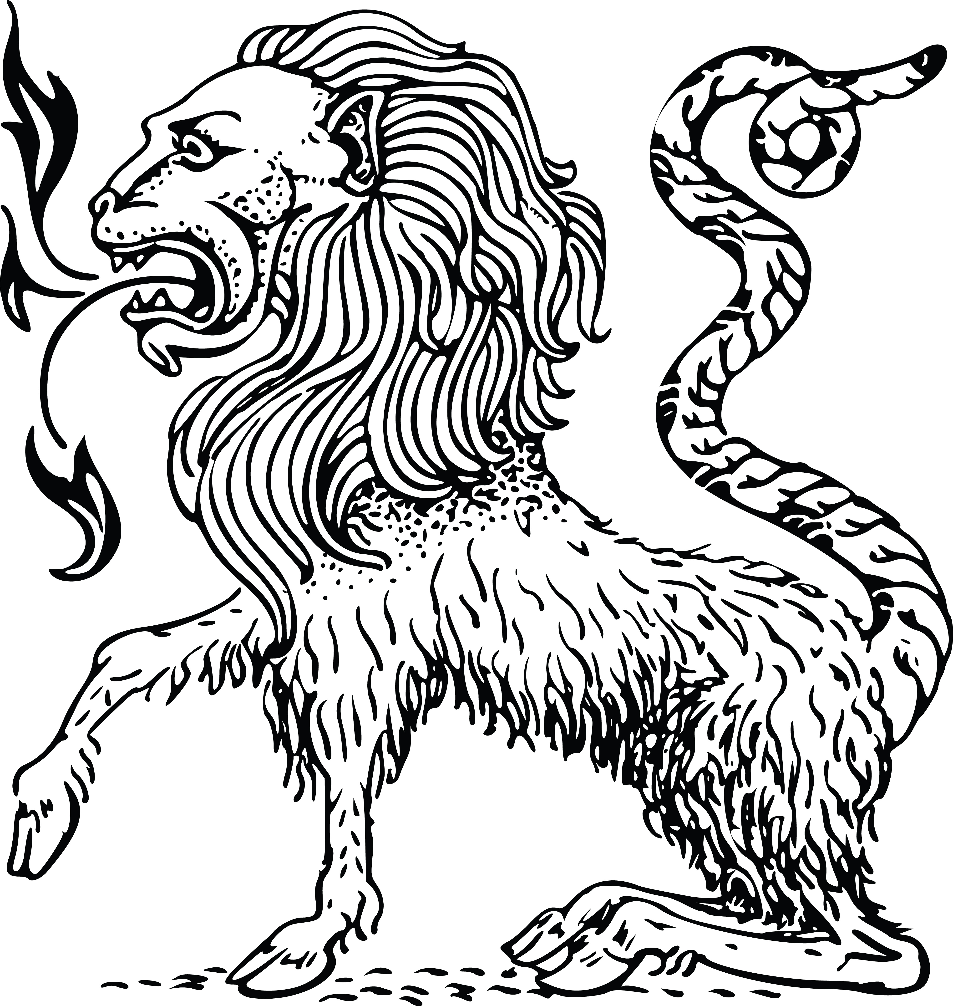 Free Clipart Of A Chimera Lion.