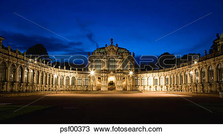 Stock Photo of Germany, Saxony, Dresden, Zwinger Palace with.
