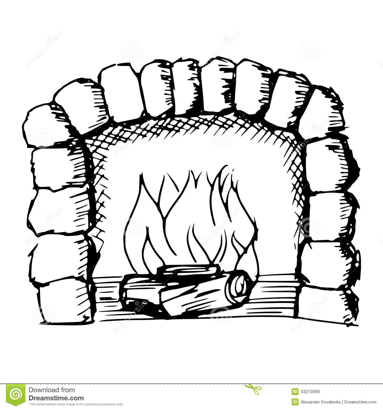 1104 Fireplace free clipart.