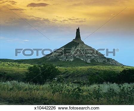Stock Images of Chimney Rock near Scotts Bluff, Nebraska, USA.