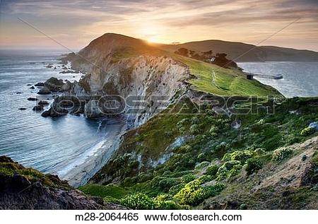 Stock Image of Sunset over the headlands near Chimney Rock, Point.