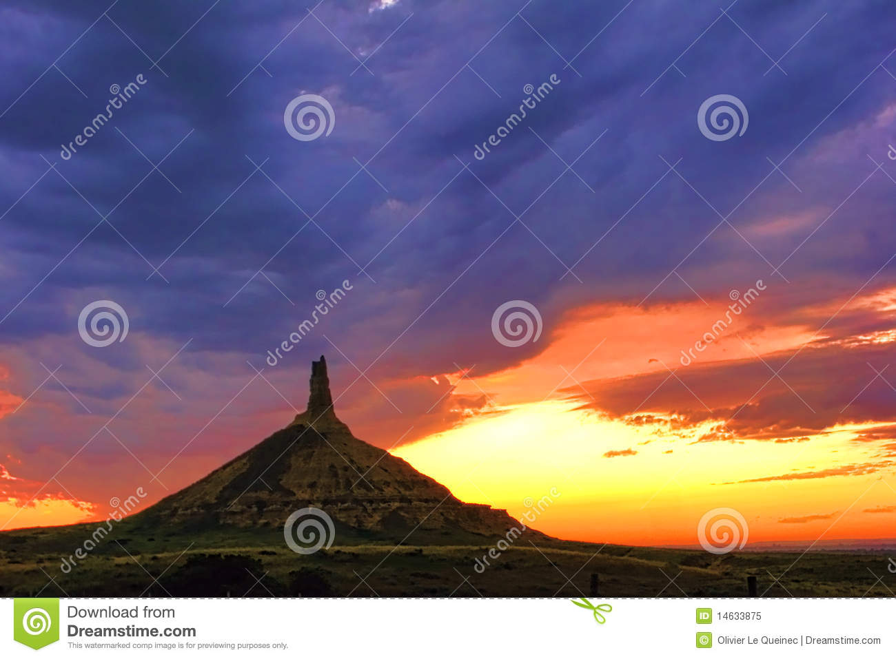 Chimney Rock Landmark In Nebraska After Sunset Royalty Free Stock.