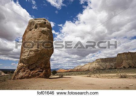 Stock Images of USA, Utah, Rock formations on a landscape, Chimney.