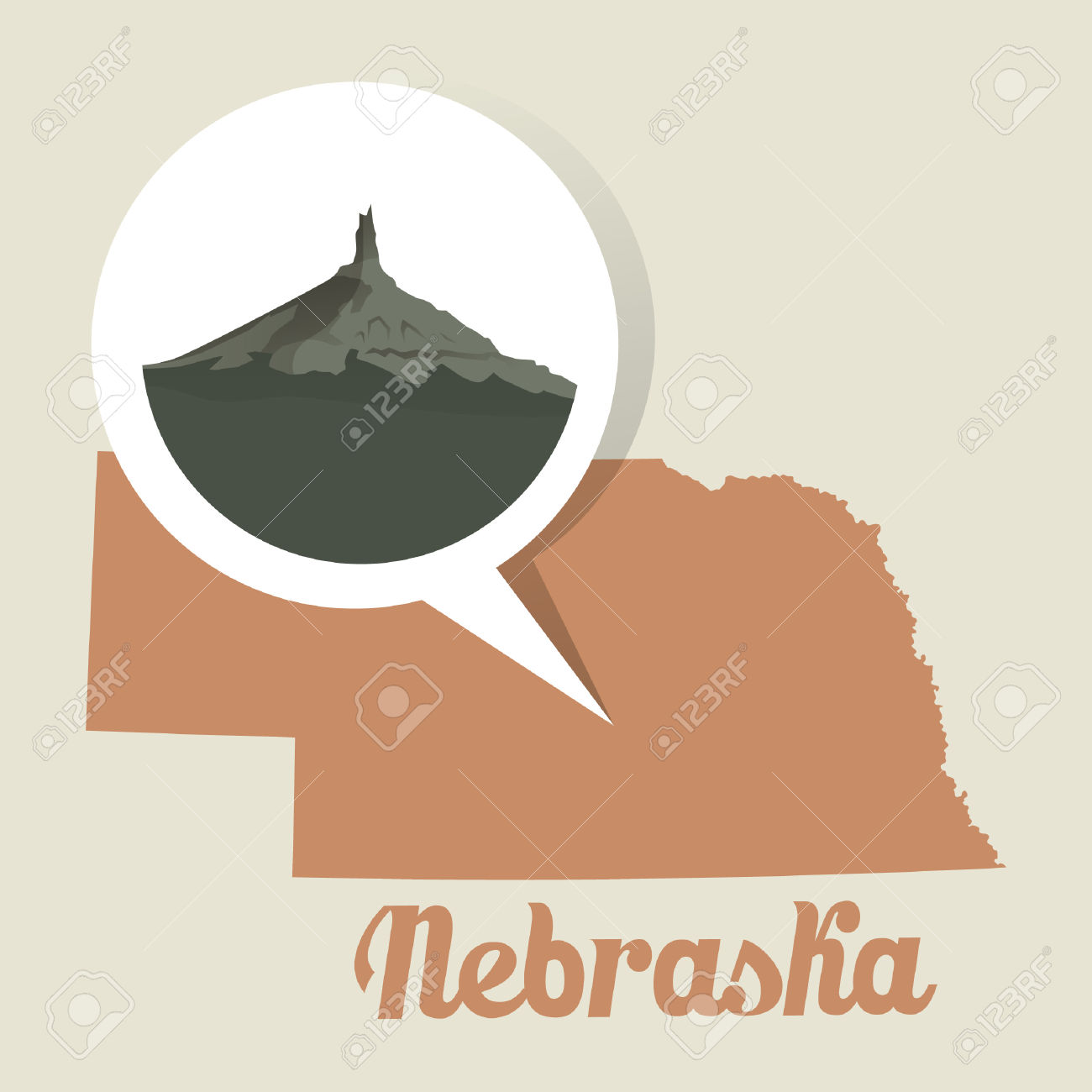 Nebraska Map With Chimney Rock Icon Royalty Free Cliparts, Vectors.