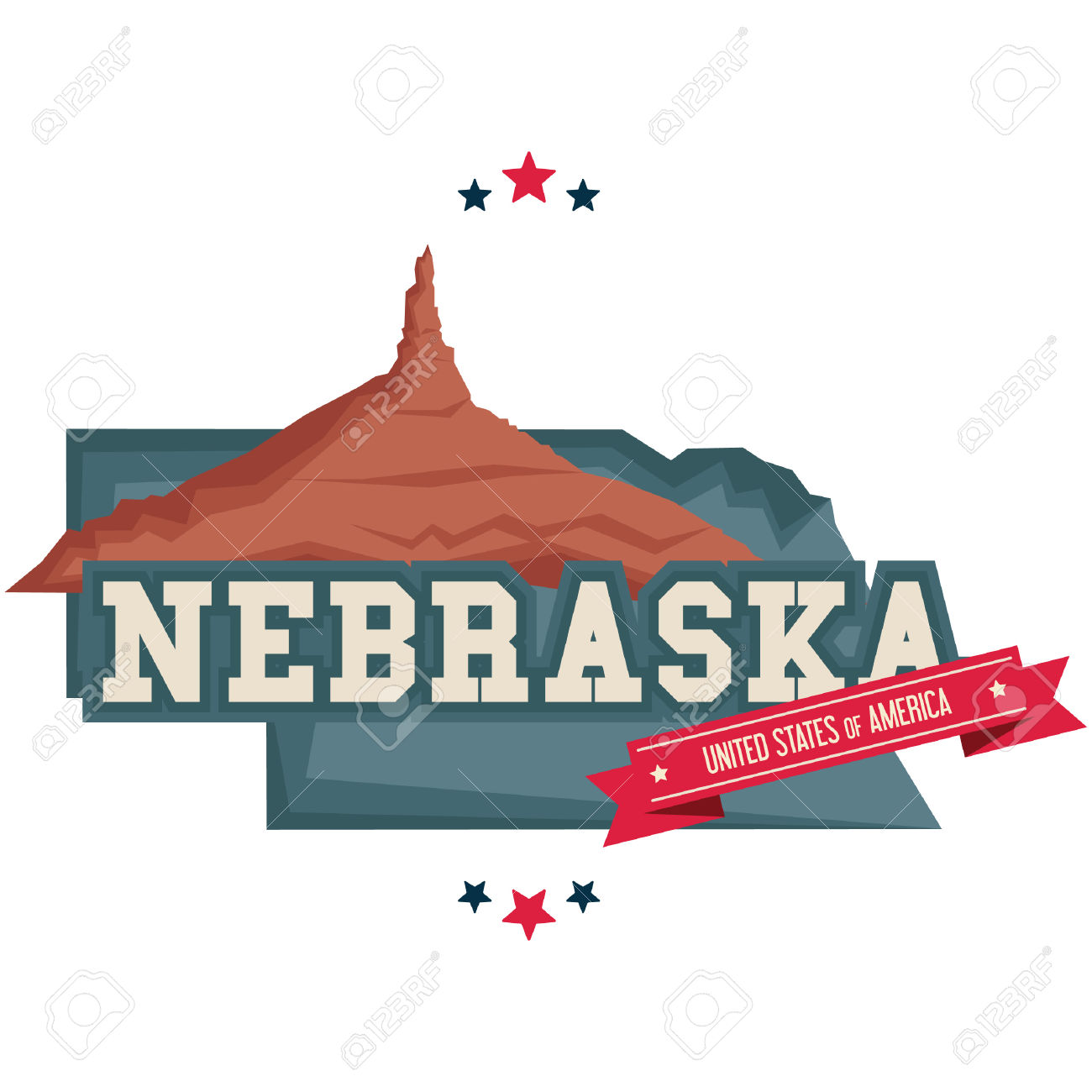 Nebraska Map With Chimney Rock Royalty Free Cliparts, Vectors, And.