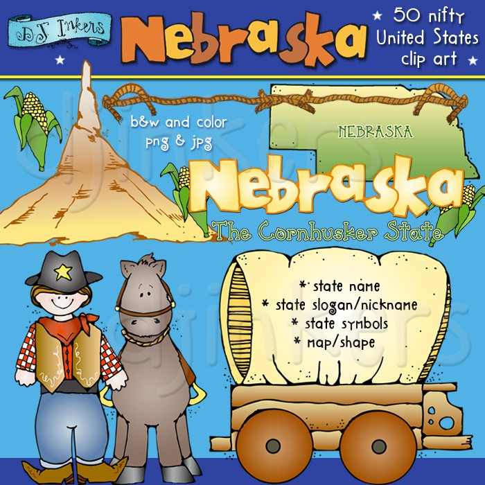 Cute Nebraska clip art for the cornhusker state by DJ Inkers.