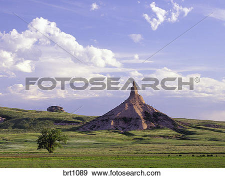 Stock Photograph of Chimney Rock, an landmark along the old Oregon.