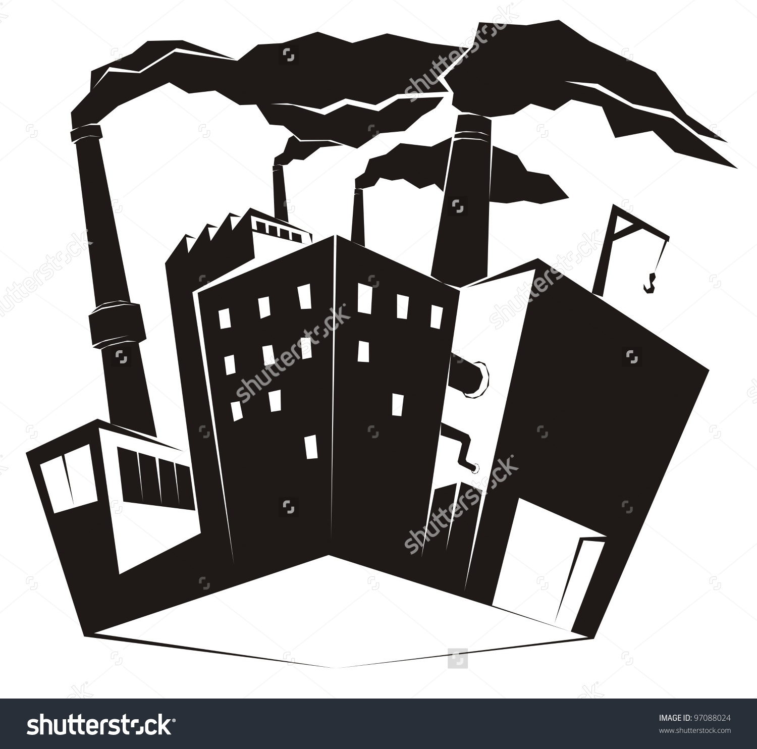 Heavy Industrial Site Factory Black Smoke Stock Vector 97088024.