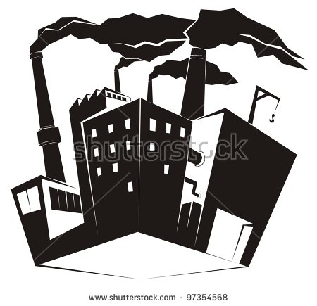Heavy Industrial Site / Factory With Black Smoke Rising From High.