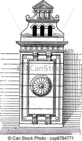 Vector Clip Art of Chimney stack, vintage engraving..