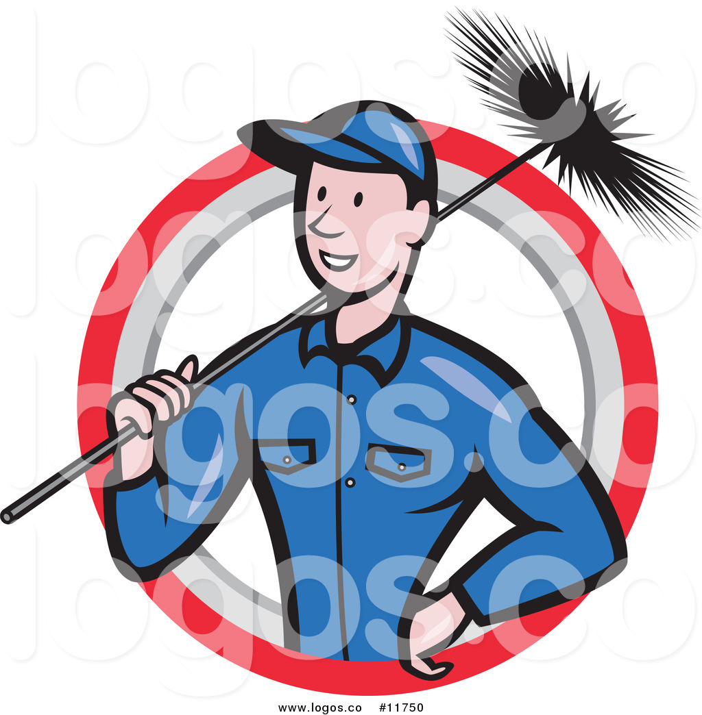 Royalty Free Vector of a Happy Chimney Sweep Worker Holding a Broom.