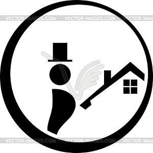Chimney sweep logo, person and roof, sticker label.