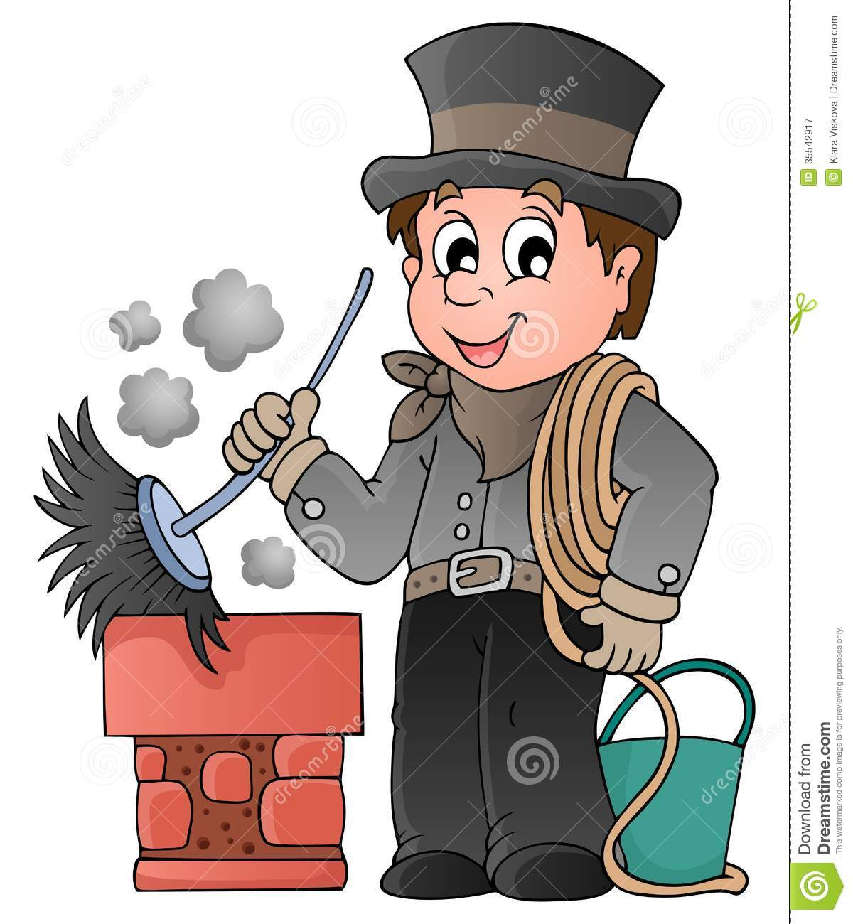 Happy chimney sweeper stock vector. Illustration of clipart.