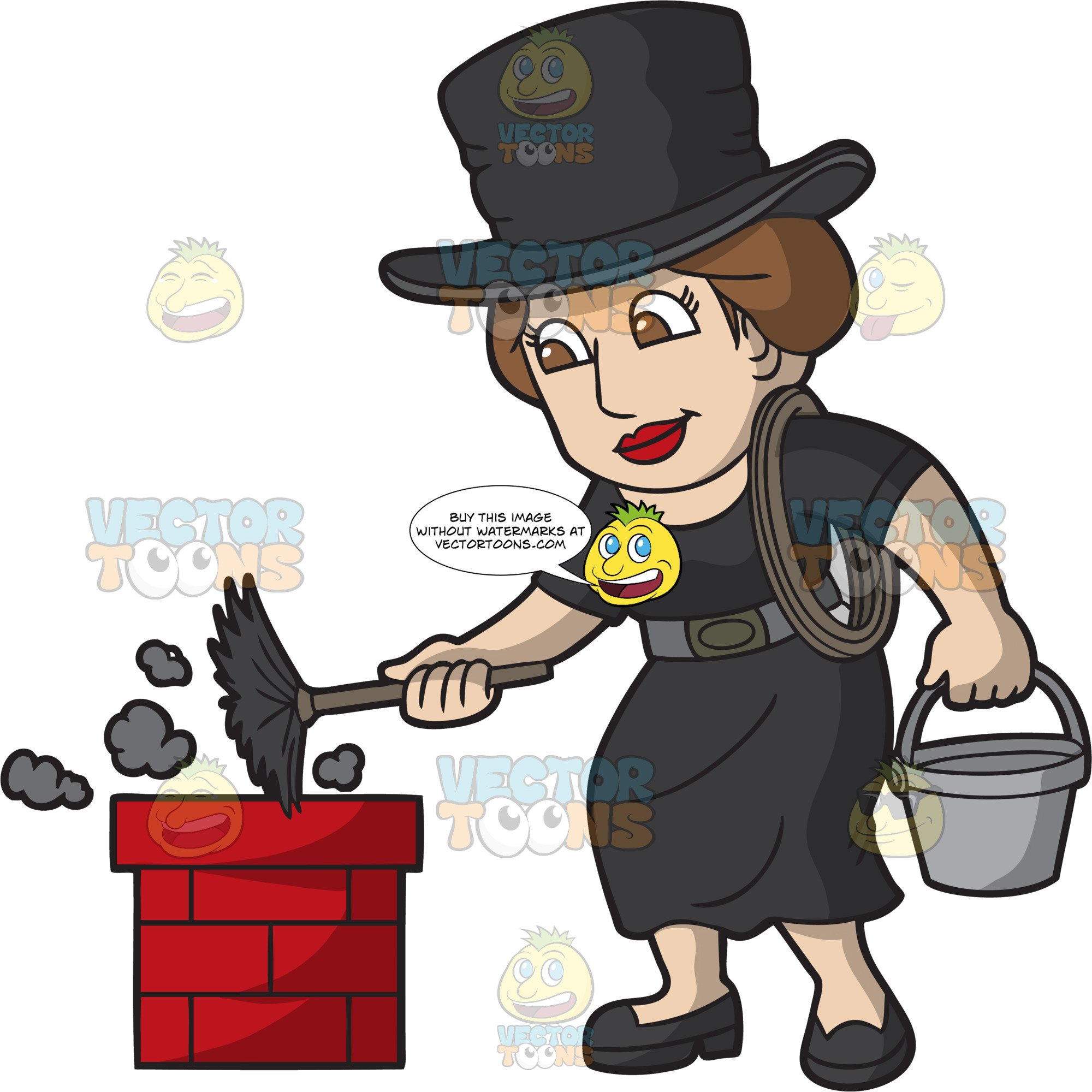 A Female Chimney Sweep At Work.