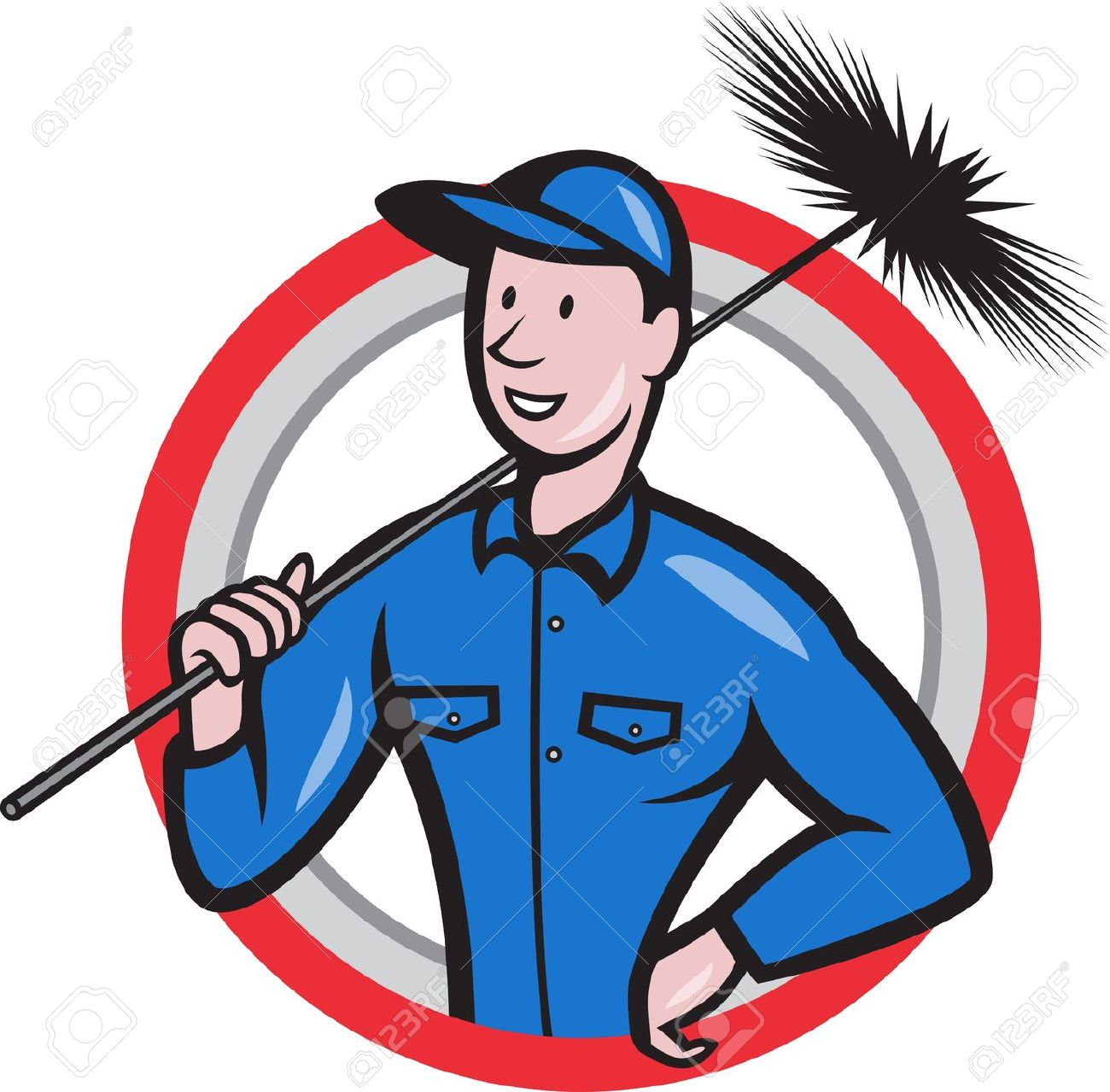 Illustration Of A Chimney Sweeper Cleaner Worker With Sweep Broom.