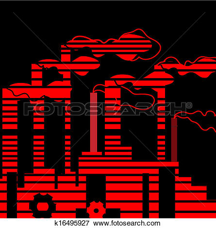 Clip Art of Factory. Industrial building factory, smoke from the.