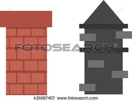 Clip Art of Two old red brown brick chimney roof architecture top.