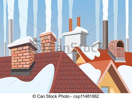 Clip Art Vector of Smoke rising from the chimneys csp11481062.