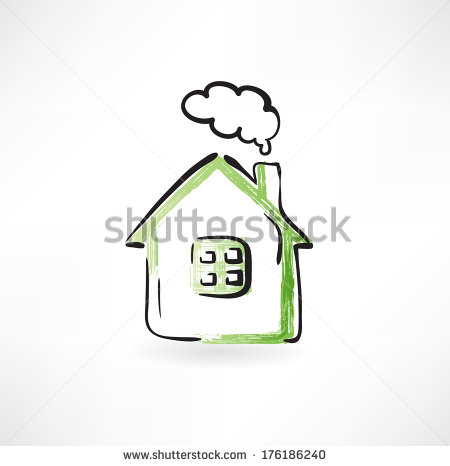Chimneys with smoke clipart #9