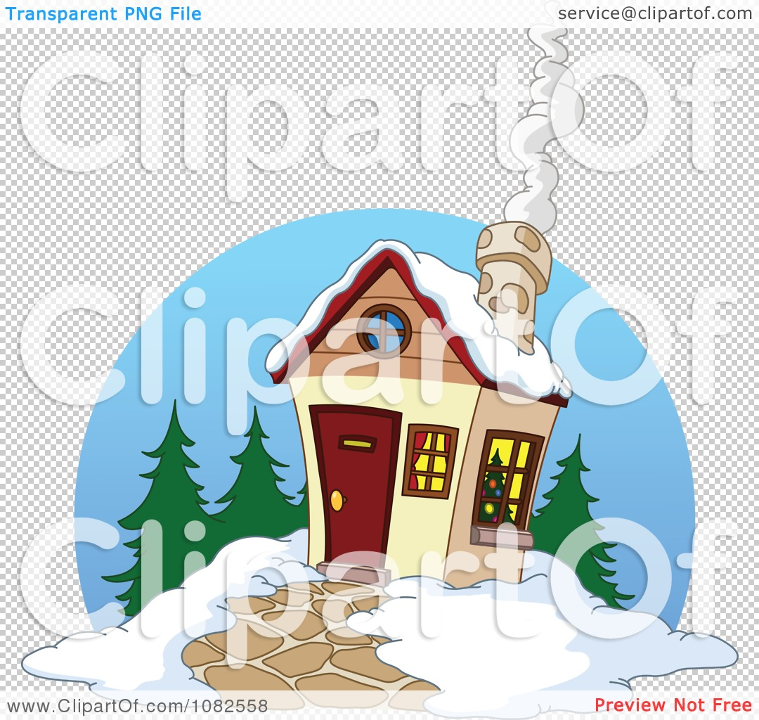 Clipart Winter Cabin With Smoke Rising From The Chimney.