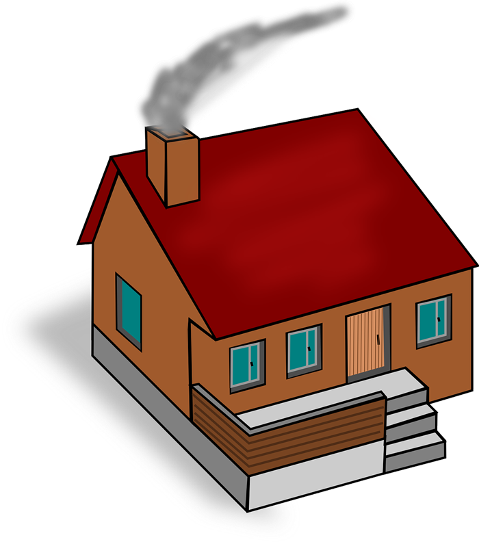 House with chimney clipart.