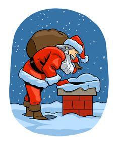 Santa reindeer chimney clipart.