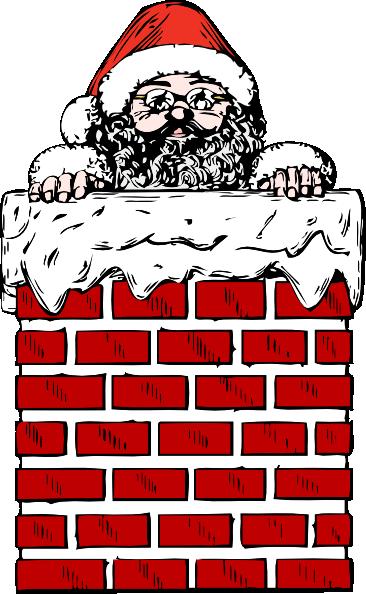 Santa In A Chimney Clip Art at Clker.com.