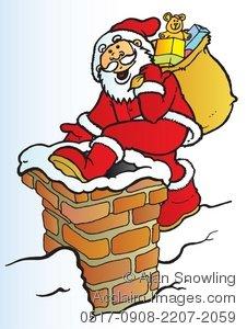 Santa chimney clipart.
