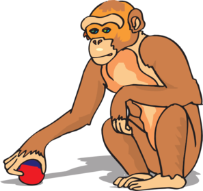 Chimp Playing With A Ball Clip Art at Clker.com.