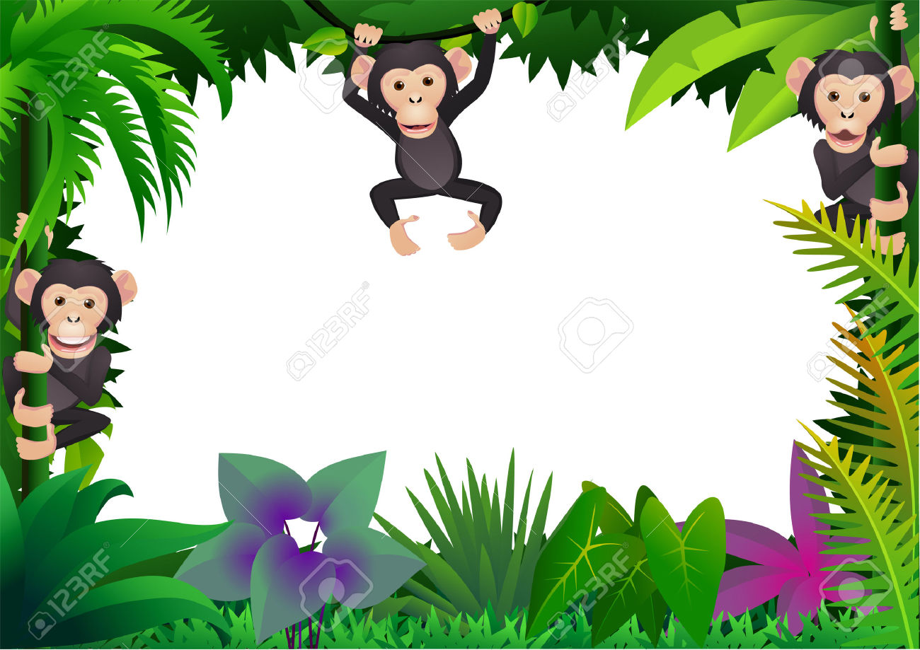 Chimpanzee In The Jungle Royalty Free Cliparts, Vectors, And Stock.