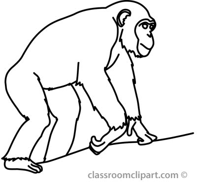 Chimpanzee Clipart Black And White.