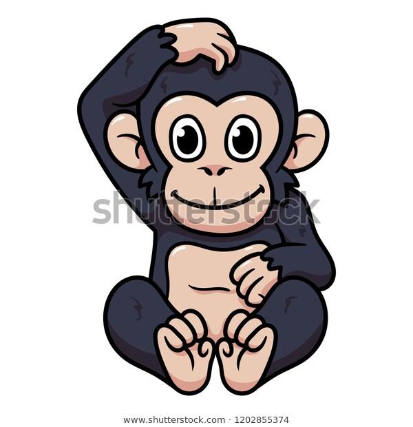 Cartoon Monkey Chimpanzee Stock Vector (Royalty Free) 1202855374.