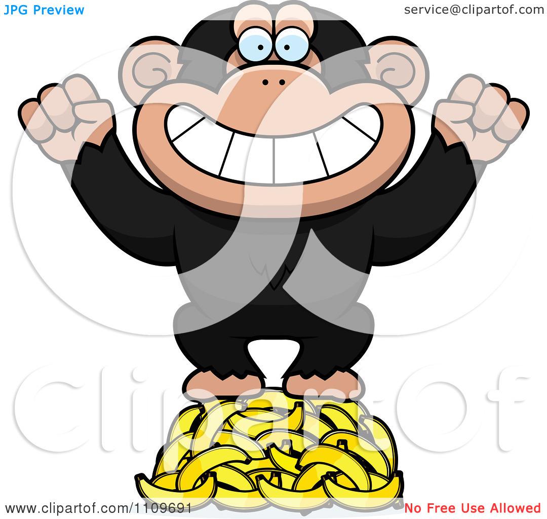 Clipart Chimpanzee Standing On Bananas.