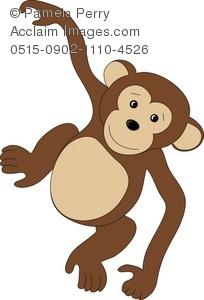 Clip Art Illustration of a Cute Little Monkey.