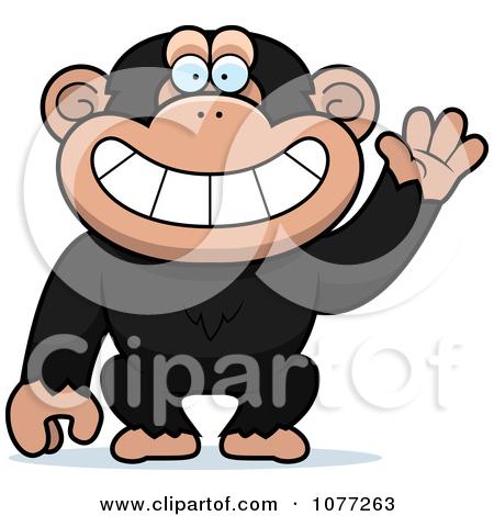 Clipart Friendly Waving Chimp Monkey.
