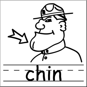 Clip Art: Basic Words: Chin B&W Labeled I abcteach.com.
