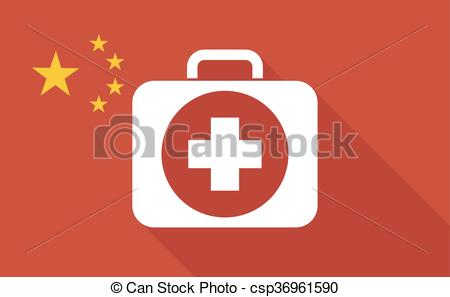China long shadow flag with a first aid kit icon.
