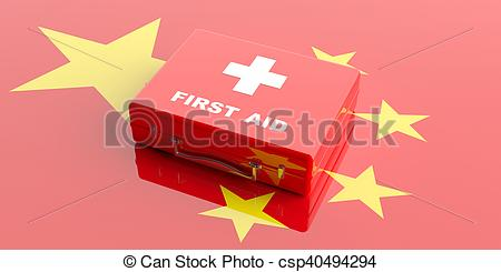 3d rendering first aid kit on China flag background.