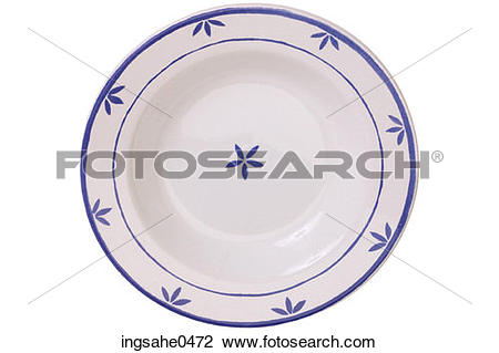 Stock Photo of White china bowl with blue leaf pattern L1.