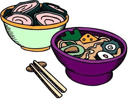 Chinese food chow main bowl clipart.