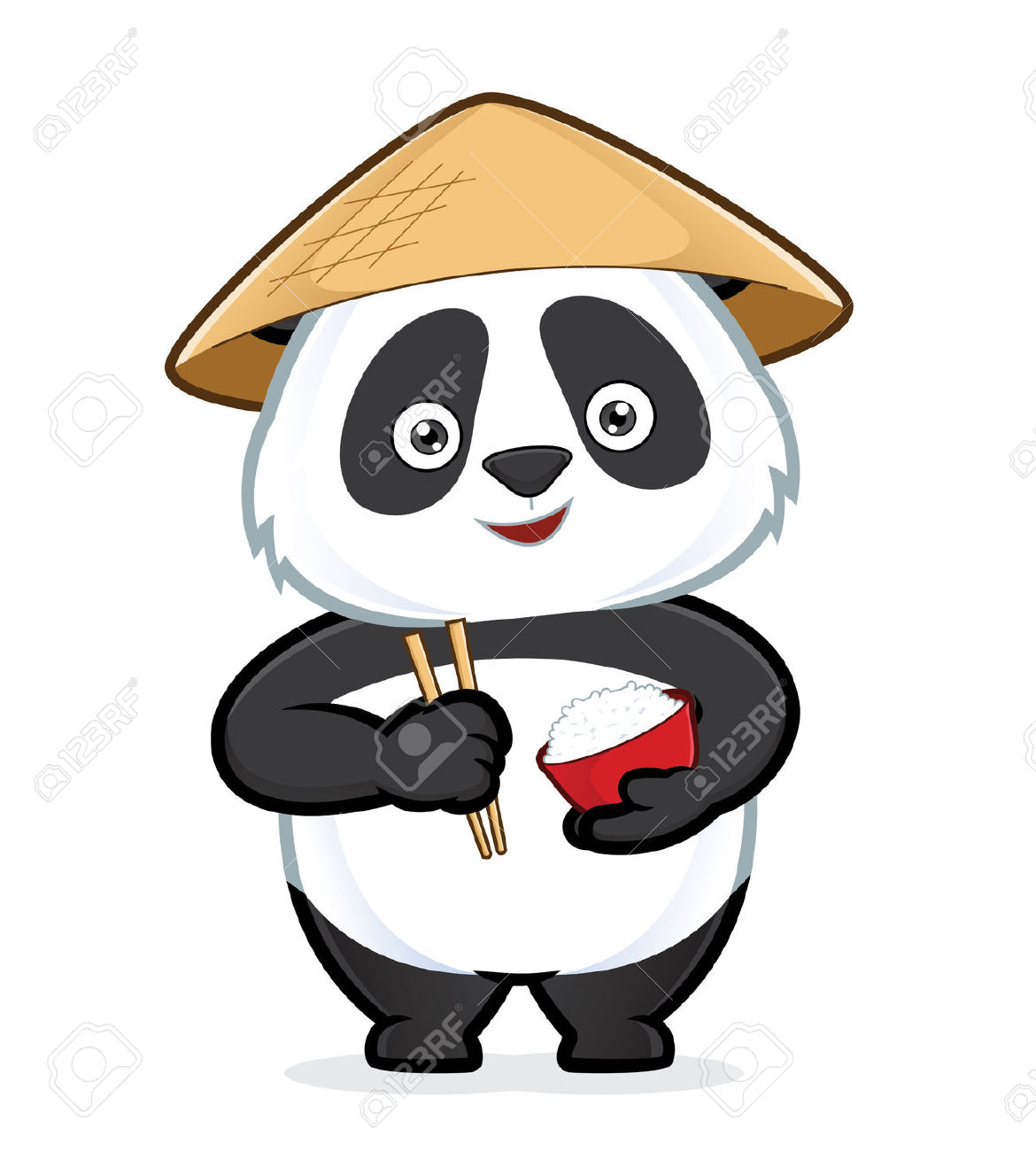 Panda Holding A Bowl Of Rice And Chopsticks Royalty Free Cliparts.