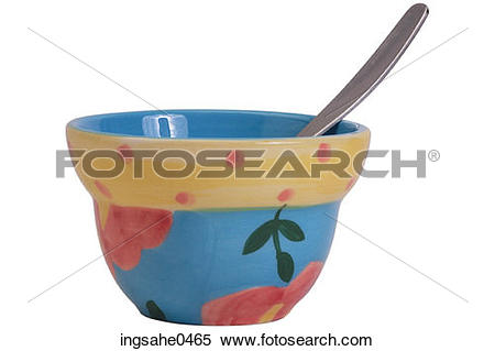 Stock Image of Spoon in floral china bowl L1 ingsahe0465.