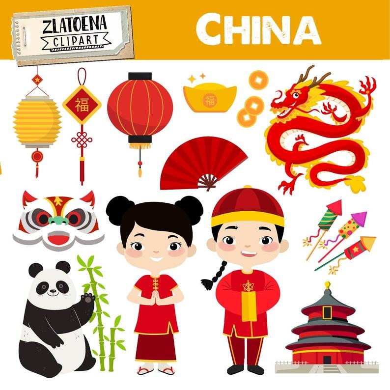 Chinese clipart China graphics Asian clip art Chinese princess clipart  Lantern Fireworks Panda Chinese dragon clipart Chinese fan.