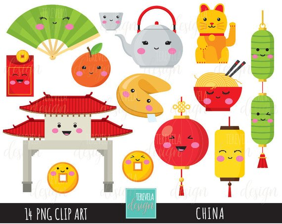 50% SALE CHINA clipart, digital clipart, commercial use, kawaii.