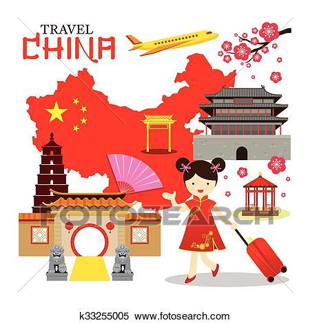 Chinese Girl Travel China Clipart.
