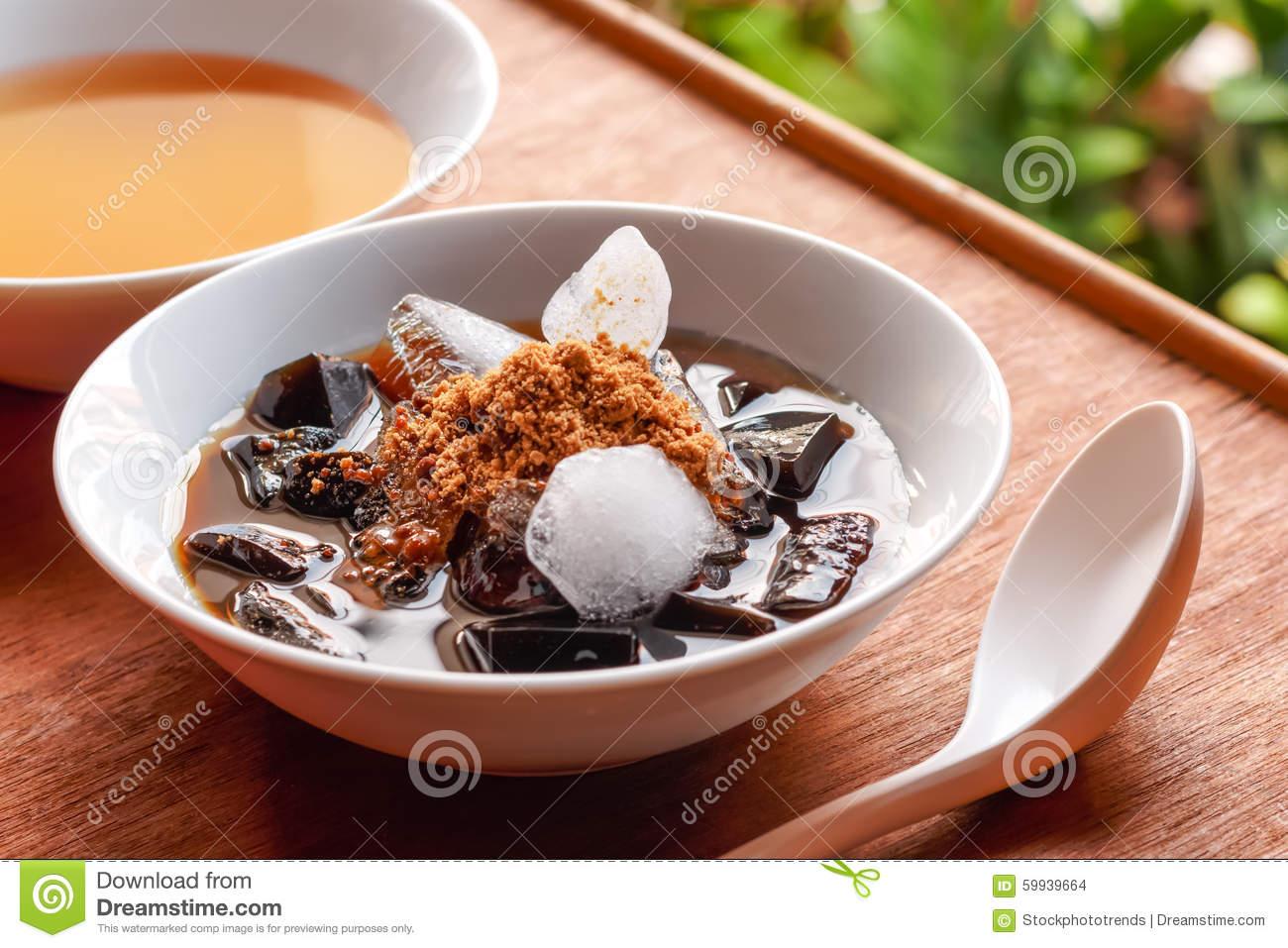 Grass Jelly Dessert, Herbal Gelatin, Chinese Style. Stock Photo.