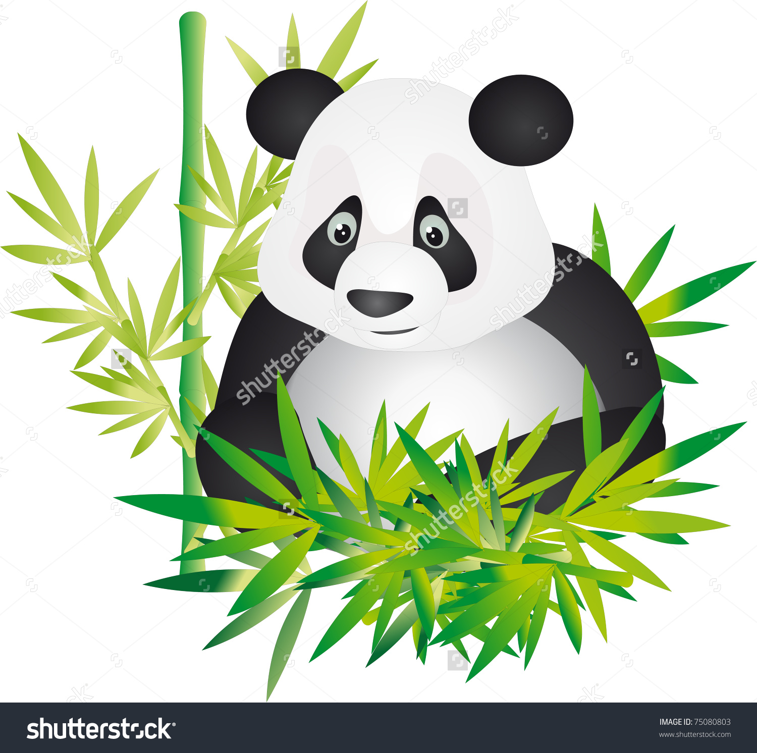 Cute Giant Panda Sitting Between Bamboo Stock Illustration.
