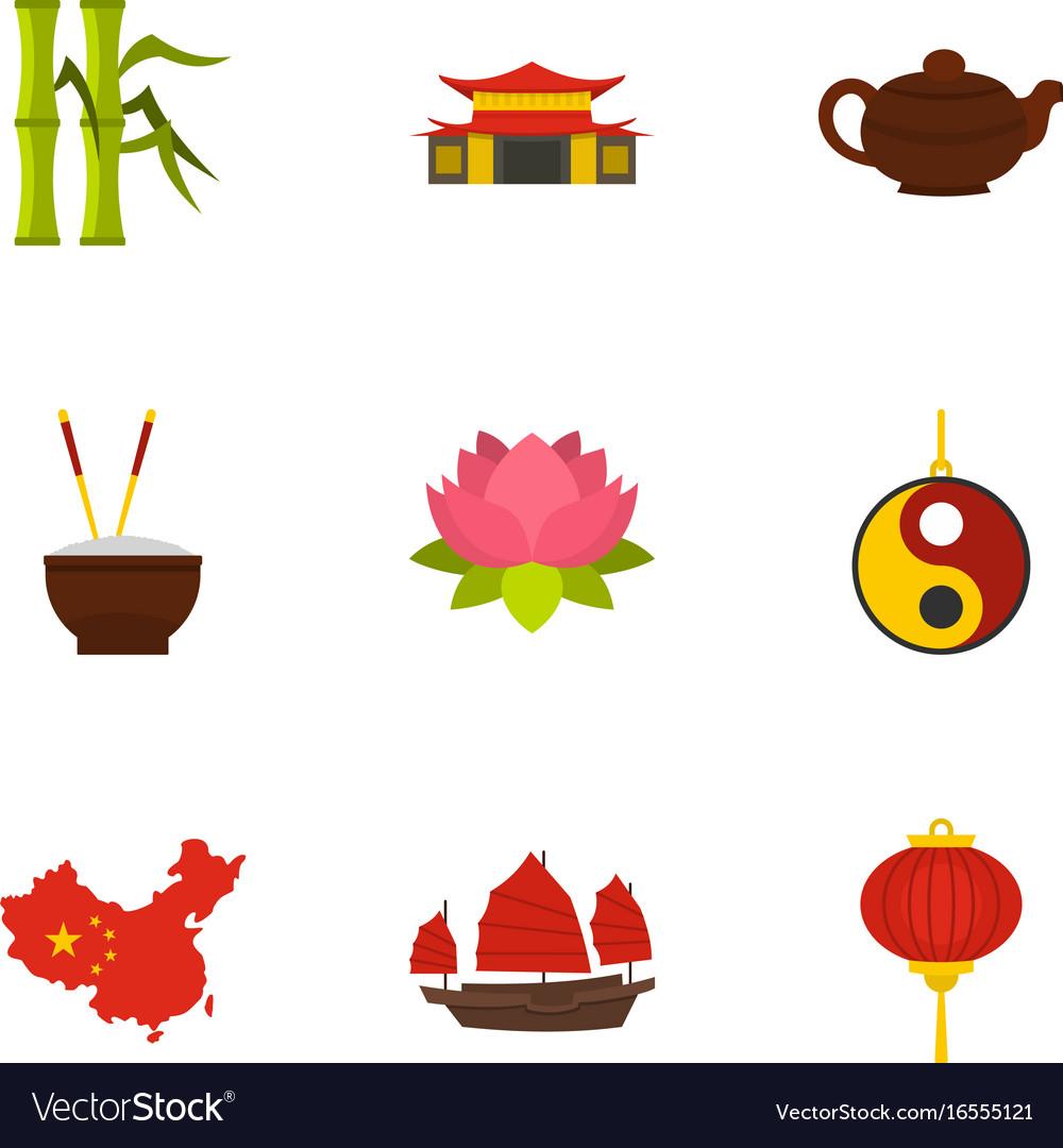 Chinese icon set flat style.