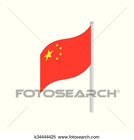 Flag of China icon, isometric 3d style Clipart.
