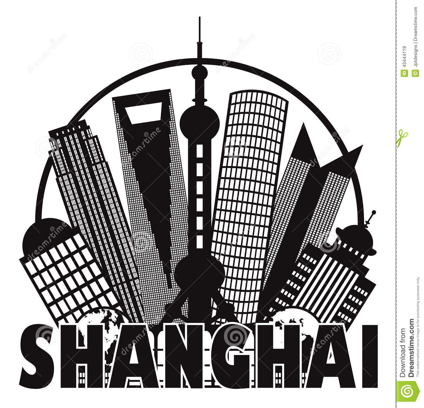 Shanghai City Skyline Black And White Circle Outli Stock Vector.